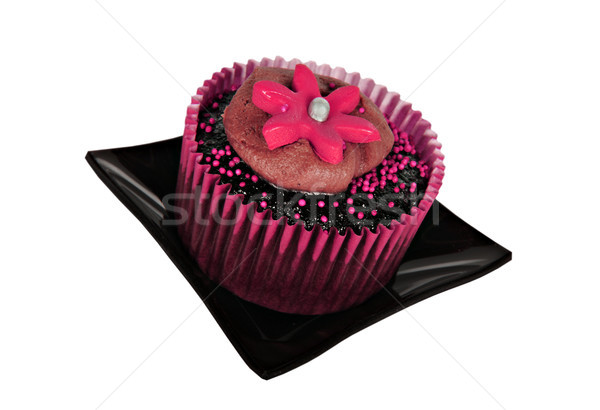 One chocolate cupcake with pink icing Stock photo © tish1
