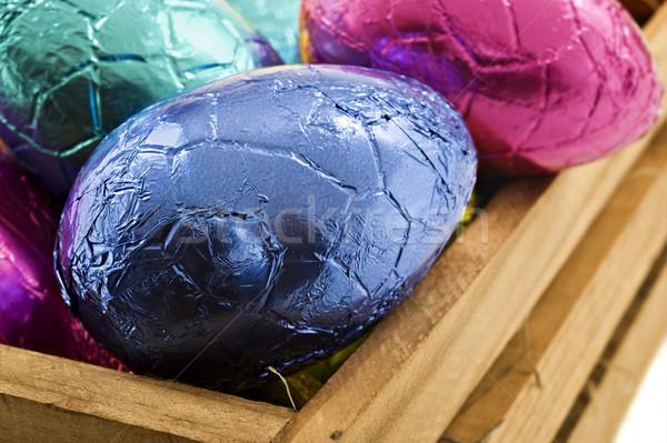 Colorido ovos de páscoa caixa branco páscoa Foto stock © tish1