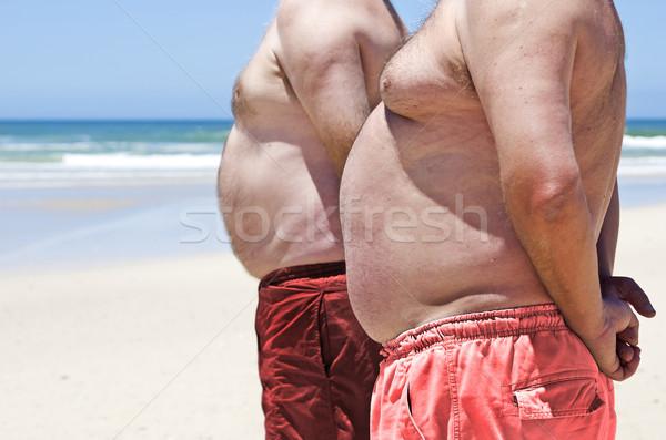 2 肥満した 脂肪 男性 ビーチ ストックフォト © tish1