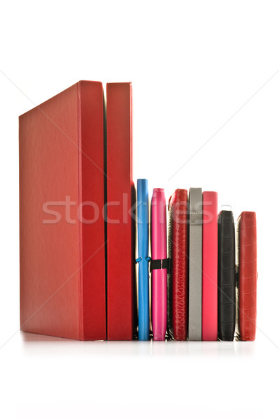 Close up of stacked up books on a white background Stock photo © tish1