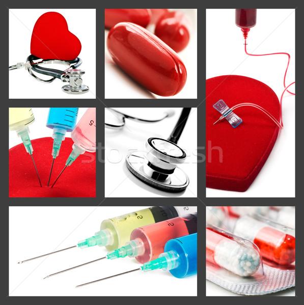 Médico colagem estetoscópio pílulas medicina ciência Foto stock © tish1