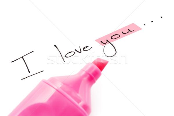 Palavras amor foco feliz caneta fundo Foto stock © tish1