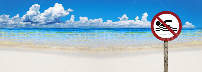 Tropical beach with sign saying no swimming Stock photo © tish1