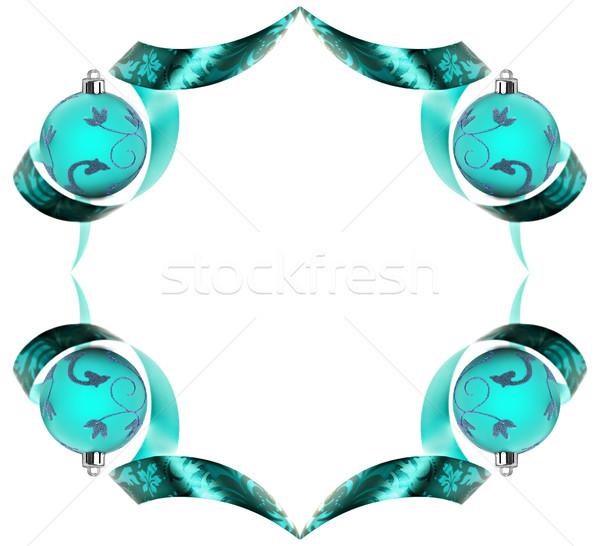Decorative border made of blue ribbon swirls on white Stock photo © tish1