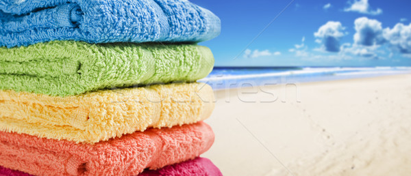 Foto stock: Colorido · toalhas · branco · praia · verão · dia