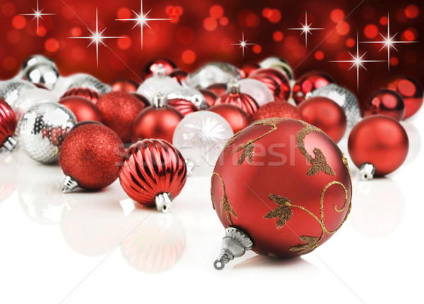 Red decorative christmas ornaments with star background Stock photo © tish1