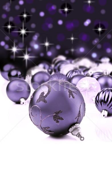 Mor dekoratif Noel süsler star arka plan Stok fotoğraf © tish1