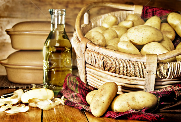 Still life of potatoes in a basket Stock photo © tish1