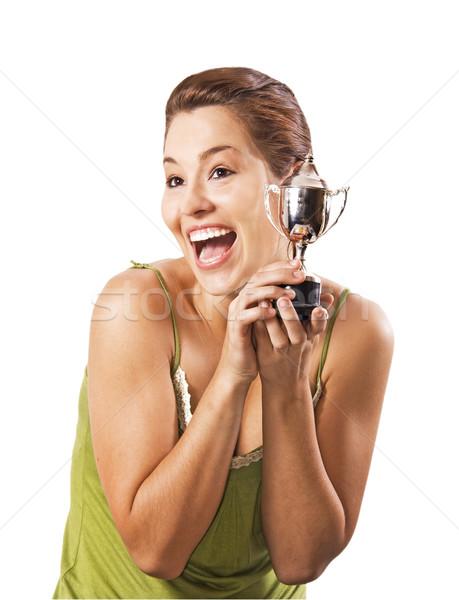 Teenage girl won the cup Stock photo © tish1