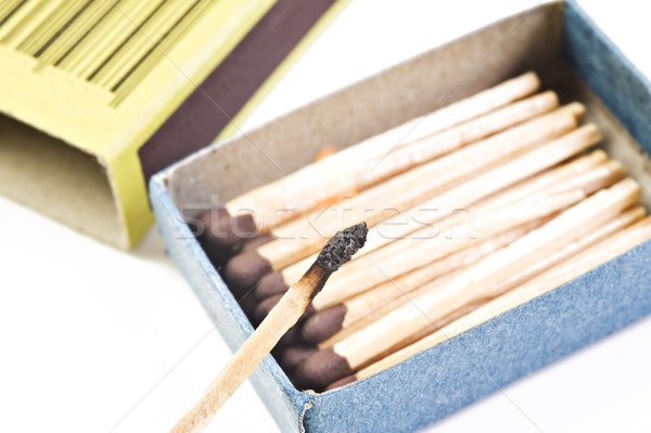 Open box of matches with one match burning Stock photo © tish1