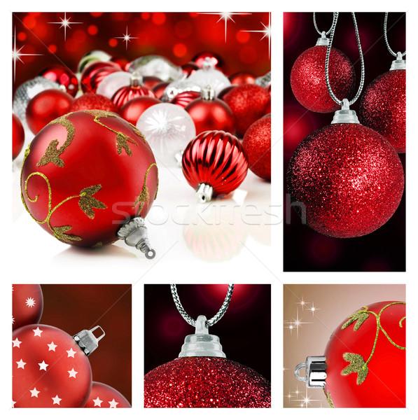 Kolaj kırmızı Noel süslemeleri farklı arka Stok fotoğraf © tish1