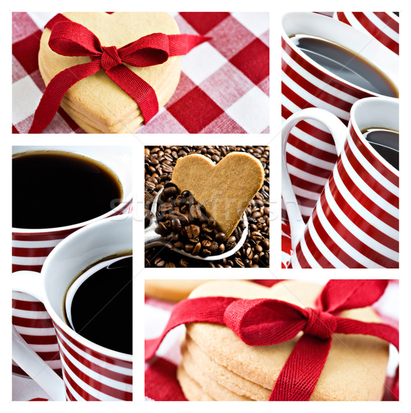 Collage café coeur cookies alimentaire Photo stock © tish1