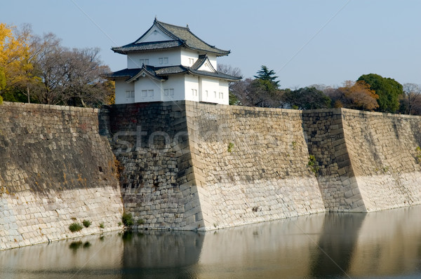 Stockfoto: Kasteel · muur · Osaka · stad · Japan · water
