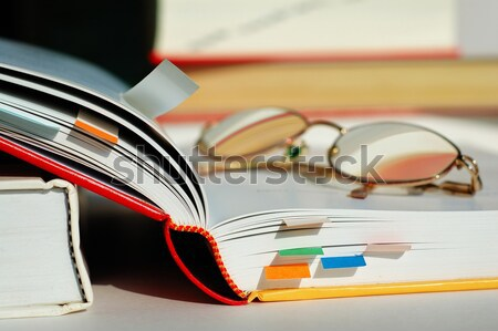 Opened book and glasses Stock photo © tito