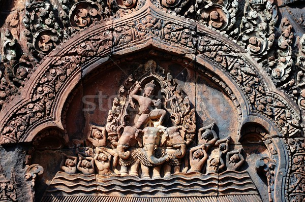Carving of mandapa at Banteay Sreiz, Cambodia Stock photo © tito
