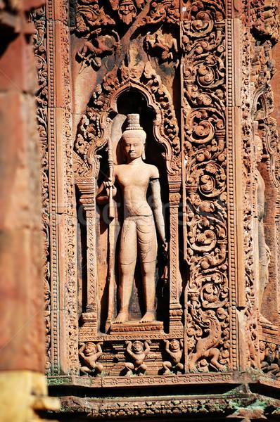 Statue carving on mandapa, Banteay Sreiz, Cambodia Stock photo © tito