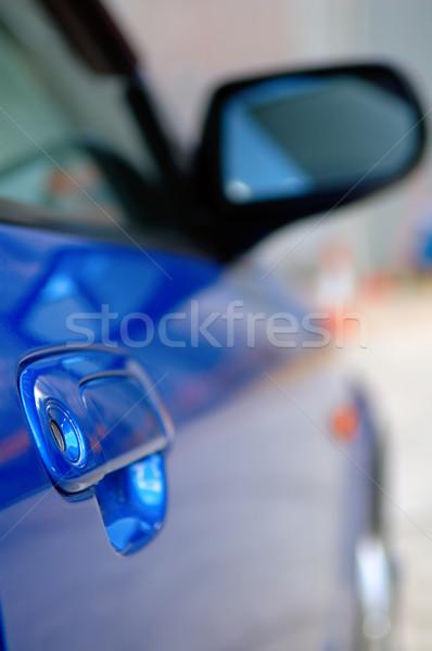 Right side mirror of shiny blue car Stock photo © tito
