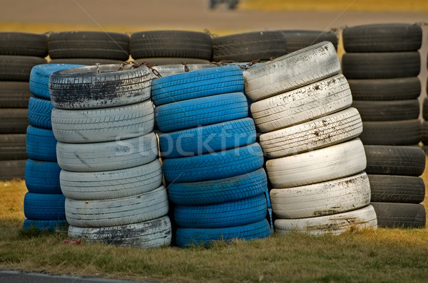 Roadside stacked tyres Stock photo © tito