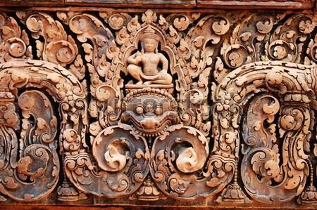 Carving of gopura at Banteay Sreiz, Cambodia Stock photo © tito