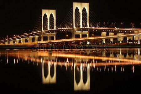 Van brug nacht hemel weg meer Stockfoto © tito