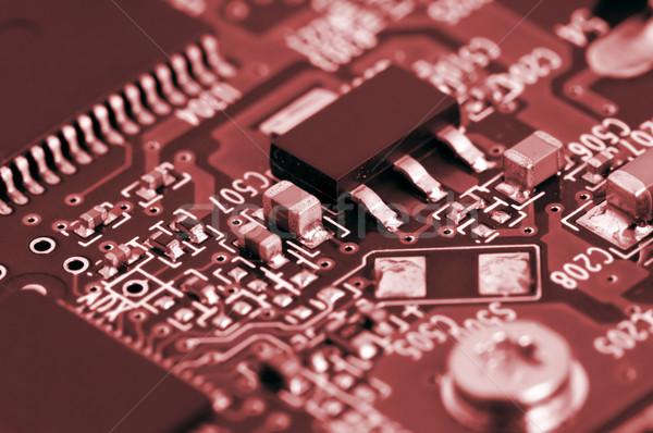 Circuito detalles electrónico rojo diseno red Foto stock © tito