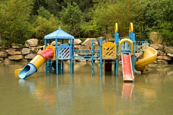 ストックフォト: カラフル · 水 · 遊び場 · 子供 · 親水公園 · 自然