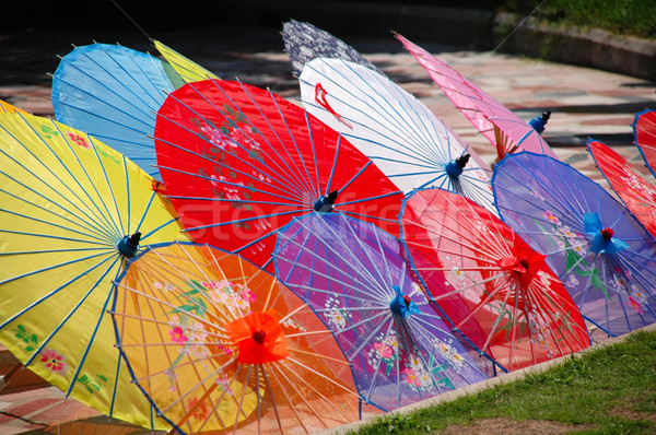 Kleurrijk chinese shot kleur traditioneel parasols Stockfoto © tito