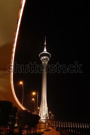 Torony illemszabály éjszakai jelenet híd út utazás Stock fotó © tito