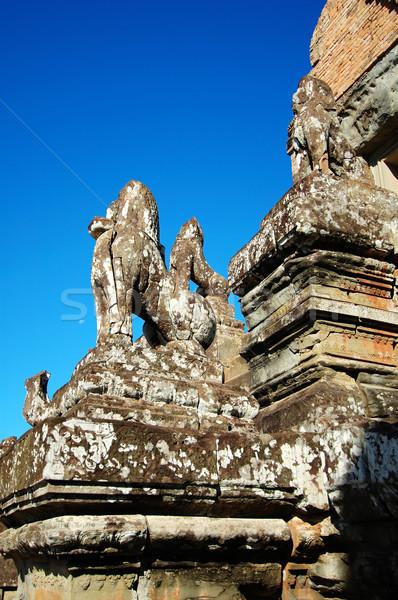 Guardião Camboja mundo azul pedra leão Foto stock © tito
