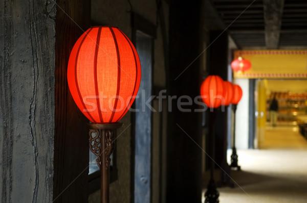 Antiguos linternas clásico chino colgante corredor Foto stock © tito