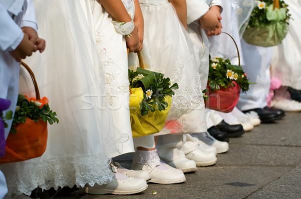 Foto stock: Línea · flor · ninas · boda · día · flores