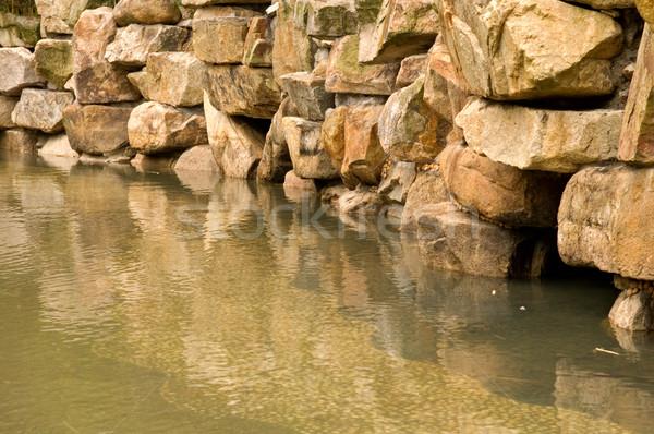 Steen vijver stenen muur Maakt een reservekopie tuin waterval Stockfoto © tito