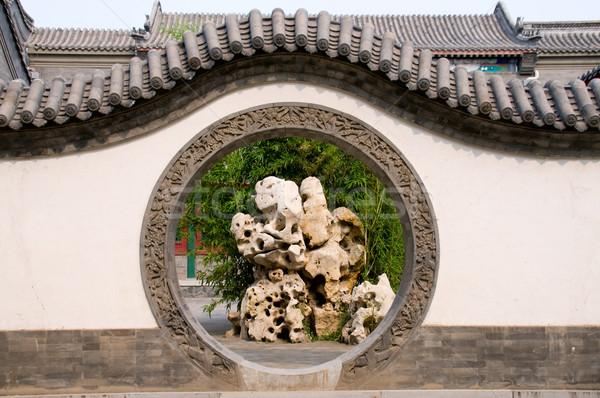 Cercle entrée chinois jardin mur Photo stock © tito