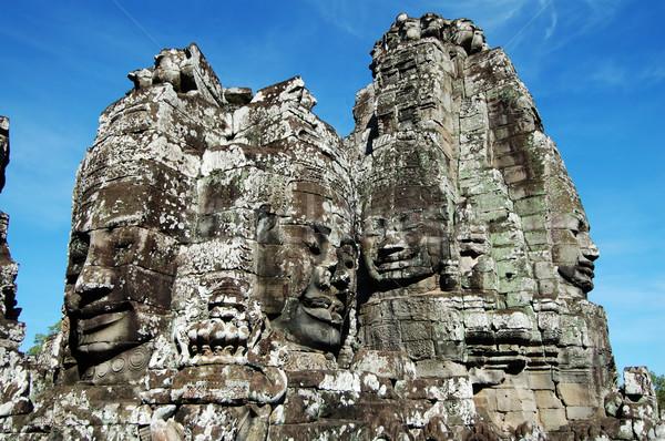 Angkor cara antigo templo azul estátua Foto stock © tito