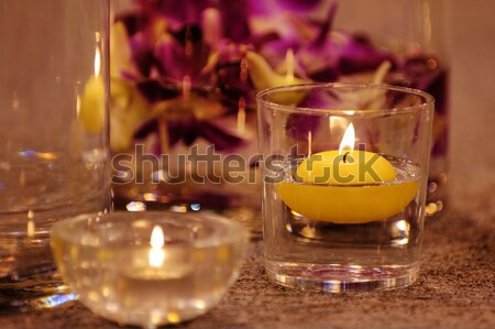 Close up shot of spa candles Stock photo © tito