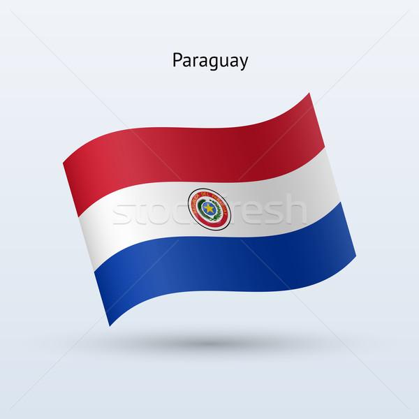 Paraguay flag waving form. Vector illustration. Stock photo © tkacchuk
