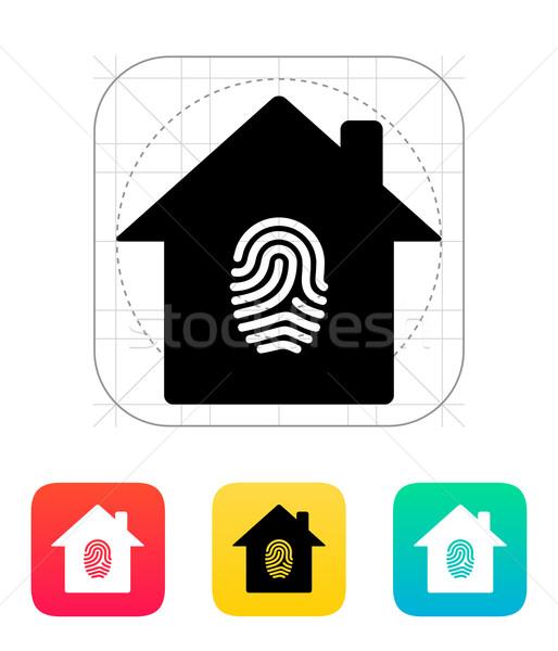 Fingerprint home secure icon. Stock photo © tkacchuk