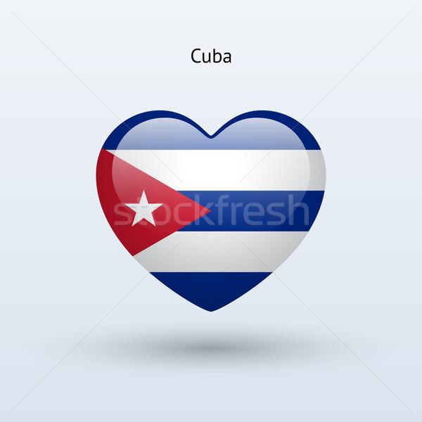 Szeretet Kuba szimbólum szív zászló ikon Stock fotó © tkacchuk