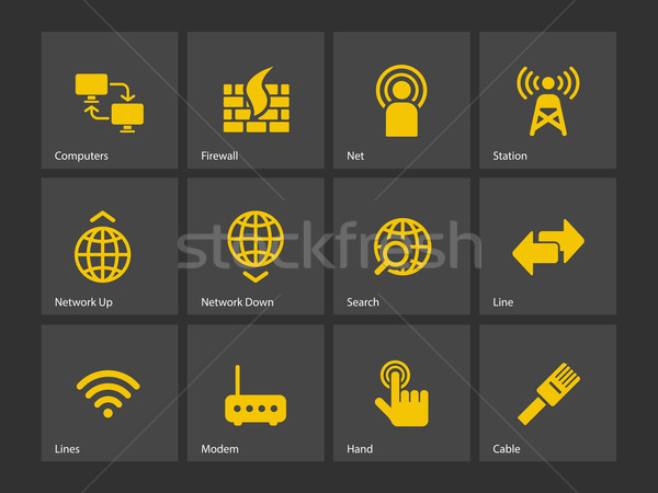 Netwerken iconen hand computers netwerk web Stockfoto © tkacchuk