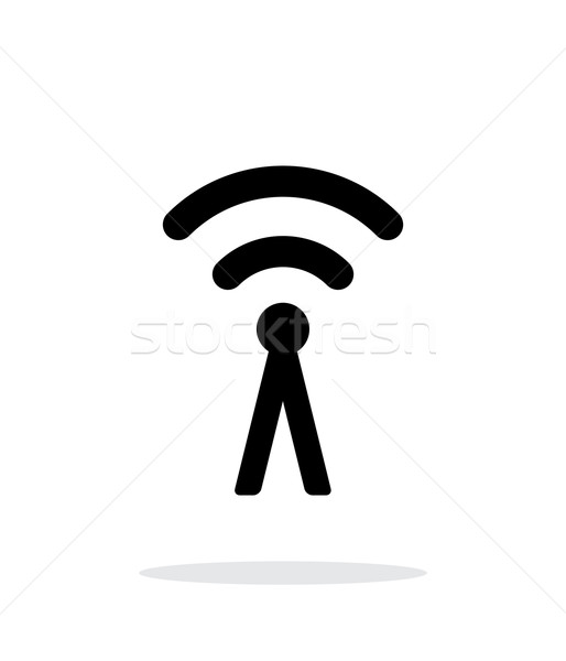 Antenna broadcasting radio signal icon on white background. Stock photo © tkacchuk