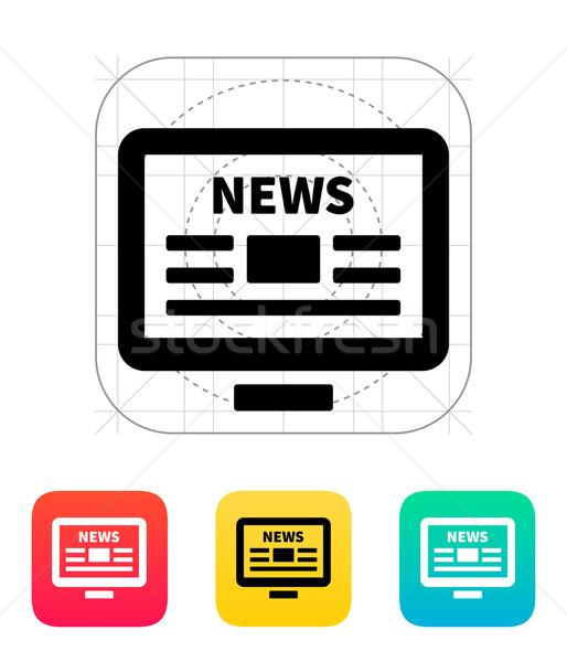 Línea noticias escritorio pc periódico icono Foto stock © tkacchuk