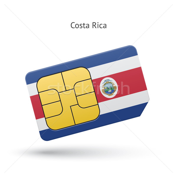 Costa Rica mobile phone sim card with flag. Stock photo © tkacchuk