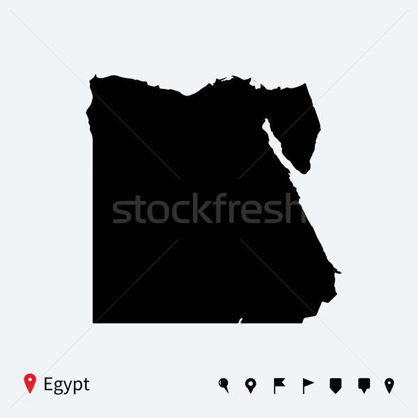 High detailed vector map of Egypt with navigation pins. Stock photo © tkacchuk