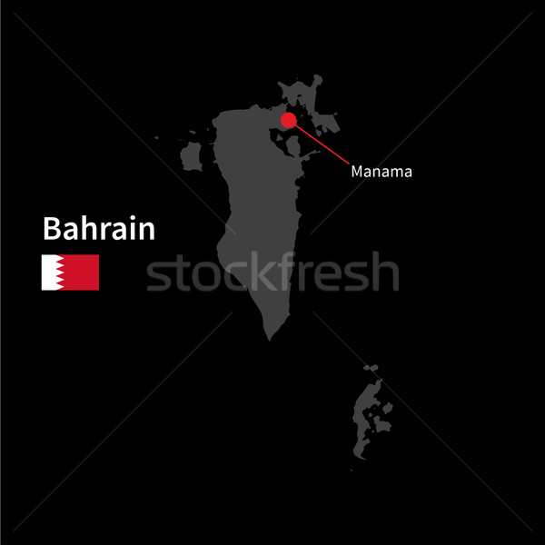 Ayrıntılı harita Bahreyn şehir bayrak siyah Stok fotoğraf © tkacchuk
