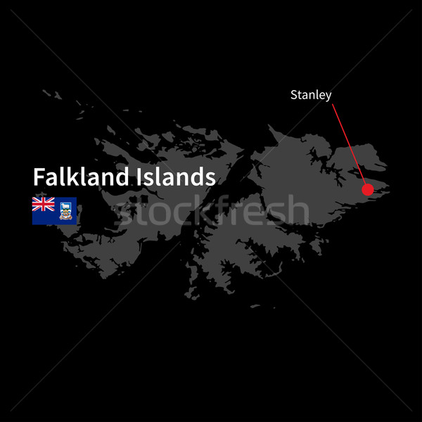 Detailed map of Falkland Islands and capital city Stanley with flag on black background Stock photo © tkacchuk