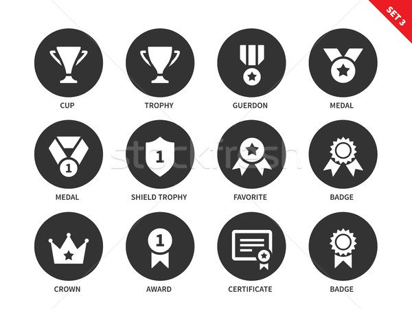 Prices and awards icons on white background Stock photo © tkacchuk