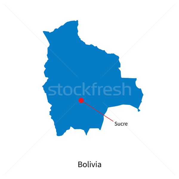 Detailed vector map of Bolivia and capital city Sucre Stock photo © tkacchuk