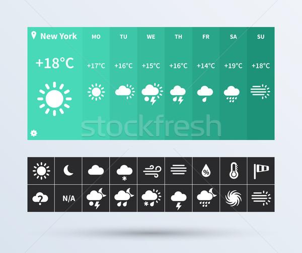 Weather Widget UI set of the flat design trend. Stock photo © tkacchuk