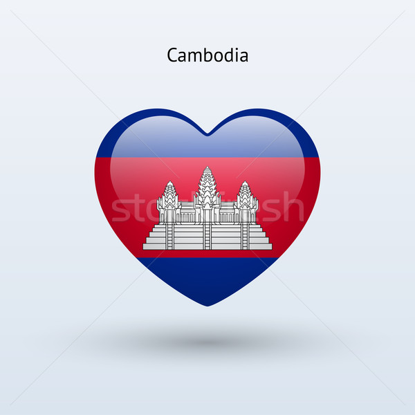 Liefde Cambodja symbool hart vlag icon Stockfoto © tkacchuk