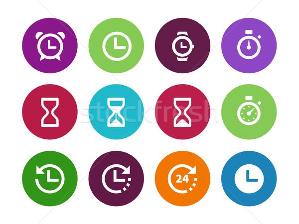 Time and Clock circle icons on white background. Stock photo © tkacchuk